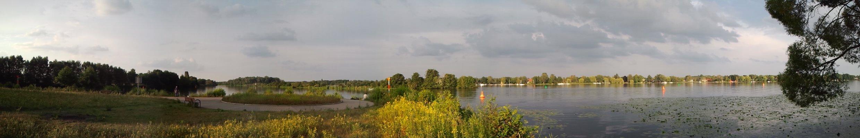 Aussicht auf den Nieder-Neuendorfer See und den Kanal